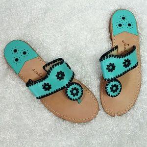Jack Rogers Custom Aqua & Blue Thong Sandals